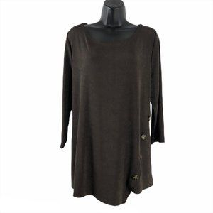 Chico's Travelers Top Brown Slinky Button Accent